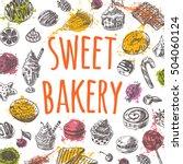 sweet bakery card on the...   Shutterstock .eps vector #504060124