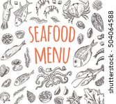 seafood menu card. hand drawn... | Shutterstock .eps vector #504064588
