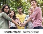 diverse teens hands together... | Shutterstock . vector #504070450