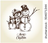 christmas card with snowman | Shutterstock .eps vector #504071344