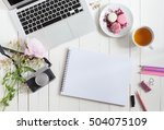feminine flat lay workspace... | Shutterstock . vector #504075109