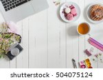 feminine flat lay workspace...   Shutterstock . vector #504075124