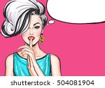 pop art illustration of girl... | Shutterstock . vector #504081904
