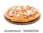 Hawaiian Pizza On Wooden Plate...