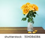 Yellow Roses In A Retro Glass...