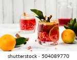 red fall or winter cocktail... | Shutterstock . vector #504089770