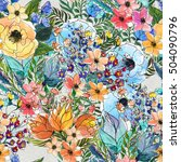 seamless pattern with colorful... | Shutterstock . vector #504090796