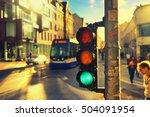 pedestrians and tram at the... | Shutterstock . vector #504091954
