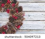 christmas wreath on rustic wood ... | Shutterstock . vector #504097213