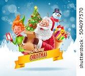 santa claus and elf | Shutterstock .eps vector #504097570