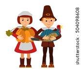 thanksgiving day children... | Shutterstock .eps vector #504098608