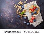 homemade muesli granola in... | Shutterstock . vector #504100168