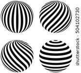 set striped balls 3d  diagonal... | Shutterstock .eps vector #504102730