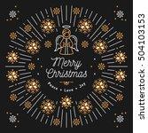 merry christmas card  mono thin ... | Shutterstock .eps vector #504103153