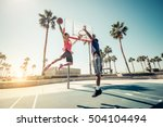 friends playing basketball  ... | Shutterstock . vector #504104494