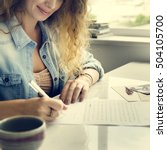 Small photo of Woman Writing Letter Statement Concept