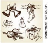 hand drawn christmas set | Shutterstock .eps vector #504128734