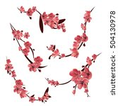 branches of pink blossoming... | Shutterstock .eps vector #504130978