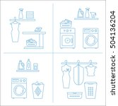 vector laundry room collections.... | Shutterstock .eps vector #504136204