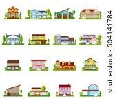 colorful residential houses set ...   Shutterstock .eps vector #504141784