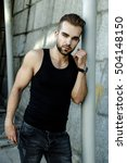 handsome bearded man wearing...   Shutterstock . vector #504148150