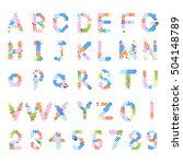 pixel text and pixel alphabet.... | Shutterstock .eps vector #504148789
