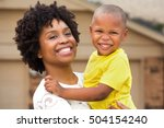 happy family. single mom... | Shutterstock . vector #504154240