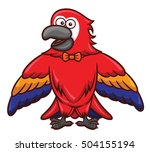 red macaw with bow tie cartoon | Shutterstock .eps vector #504155194