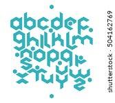 hexagonal futuristic alphabet.... | Shutterstock .eps vector #504162769