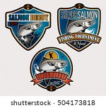 salmon fishing emblems  labels...