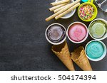 top view ice cream flavors in... | Shutterstock . vector #504174394