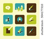 vector flat icons set   art...
