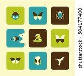 vector flat icons set   animals ... | Shutterstock .eps vector #504177400