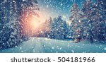 winter panorama on the road... | Shutterstock . vector #504181966