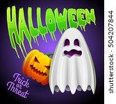 vector pumpkin  spooky ghost... | Shutterstock .eps vector #504207844