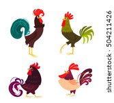 four stylized roosters on a... | Shutterstock .eps vector #504211426