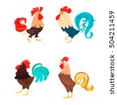 four stylized roosters on a... | Shutterstock .eps vector #504211459