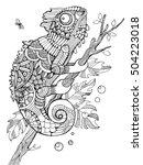 chameleon coloring book for...   Shutterstock .eps vector #504223018