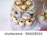 tarts  crem puffs  cupcakes on... | Shutterstock . vector #504228310