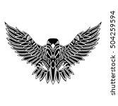 flying eagle  black silhouette... | Shutterstock .eps vector #504259594