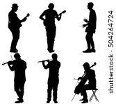silhouettes street musicians... | Shutterstock . vector #504264724