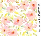 Stock photo spring watercolor flower pattern seamless background 504276910