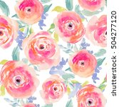 Stock photo watercolor flower pattern repeating pink watercolor flower pattern watercolor flower background 504277120