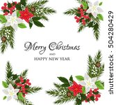 christmas party invitation with ... | Shutterstock .eps vector #504280429