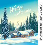 winter forest landscape and the ... | Shutterstock .eps vector #504284350