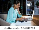 businesswoman working on laptop ... | Shutterstock . vector #504284794