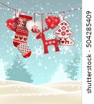 red knitted christmas stocking... | Shutterstock .eps vector #504285409