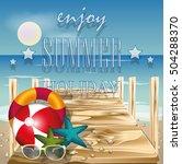 summer beach vector concept... | Shutterstock .eps vector #504288370