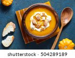 vegetable cream soup with... | Shutterstock . vector #504289189