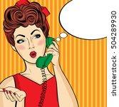 pop art  woman chatting on...   Shutterstock .eps vector #504289930